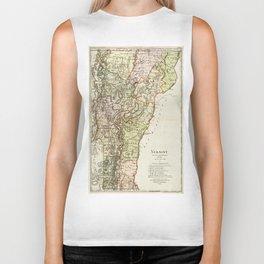Vintage Map of Vermont (1797) Biker Tank