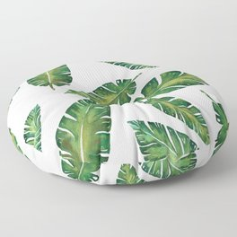 Decorative Watercolor Tropical Leaves Pattern Floor Pillow