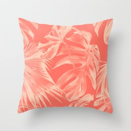 Living Coral Tropical Palm Leaves Monstera Throw Pillow