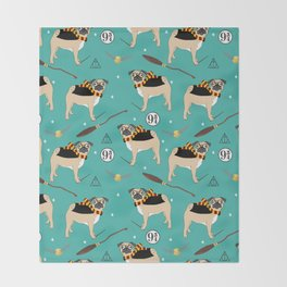harry pugger magical witch wizard fan dog lover Throw Blanket