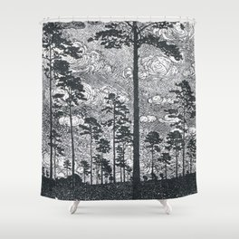 Albert König (1881-1944) - Kiefern Black And White Landscape Ink Art Shower Curtain