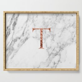 Monogram rose gold marble T Serving Tray