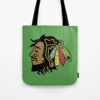 blackhawks Tote Bags featuring Rastafarian Blackhawk by beejammerican