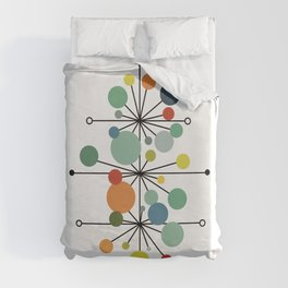 Atomic Age Nuclear Abstract Motif — Mid Century Modern Pattern Duvet Cover
