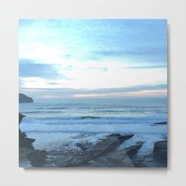 Sunset in Trebarwith Stand, Cornwall, England Metal Print