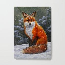 Cute Red Fox in Snow Metal Print
