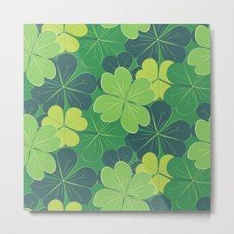 Decorative green shamrock leaves Metal Print