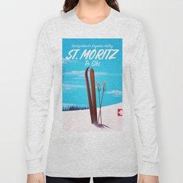 St. Moritz Switzerland ski poster Long Sleeve T-shirt