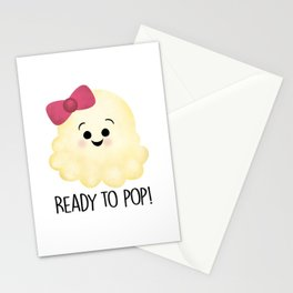 Ready To Pop - Popcorn Pink Bow Stationery Cards