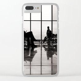 black&white- airport-travel-journey-expectation-silhouette-adventure Clear iPhone Case