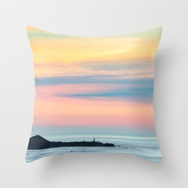 Sunset Overlooking the Yaquina Head Lighthouse Throw Pillow
