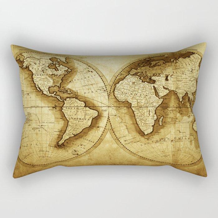 Antique Map of the World Rectangular Pillow
