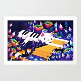 Piano Cat in the Forest Art Print