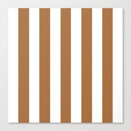 Metallic bronze - solid color - white vertical lines pattern Canvas Print