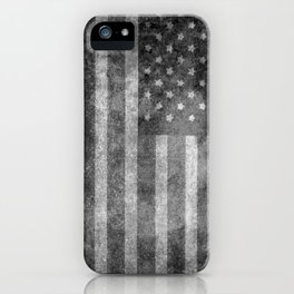US flag, Old Glory in black & white iPhone Case