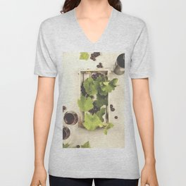 Wine and grapes over grey marble background Unisex V-Neck