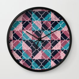 Arabesque Mosaic - pink and blue Wall Clock
