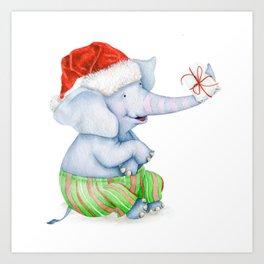 Cut Christmas Elephant Art Print