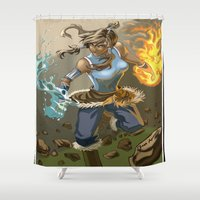 the legend of korra Shower Curtains featuring The Legend Of Korra by Fran Agostinelli