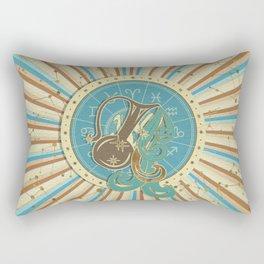 Vintage Aquarius Zodiac Art Rectangular Pillow