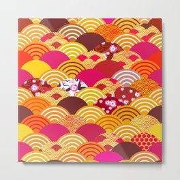 pattern scales simple Nature background with japanese sakura flower, rosy pink Cherry, wave Metal Print