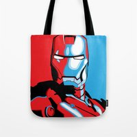 iron man Tote Bags featuring Iron Man by C.Rhodes Design