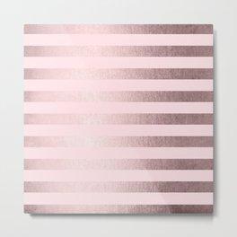 Shimmer Stripes Rose Gold Palace on Pink Metal Print