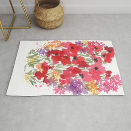 Little Red Poppy Patch Rug