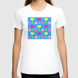Daisy and heart print, turquoise, pink and yellow T-shirt