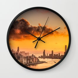 sunset over hong kong urban city skyline with victoria harbor Wall Clock
