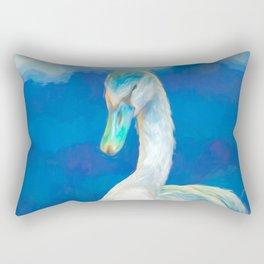 young swan on beach at lake Rectangular Pillow