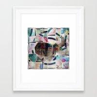 kandinsky Framed Art Prints featuring whale in reassembled Kandinsky by Osome Beamer