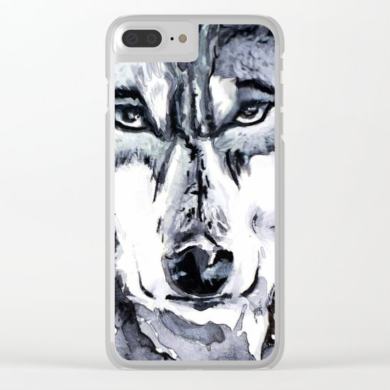 Abstract Wolf - Zoomed Clear iPhone Case