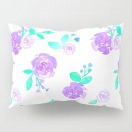 Purple Watercolor Rose Garden Print Pillow Sham