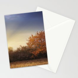 Golden tree in the autumn field Stationery Cards