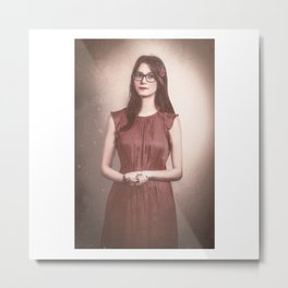 Fine Art Retouched | Photography of a Beautiful Woman | Lady In Red Metal Print