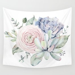 Succulent Blooms Wall Tapestry