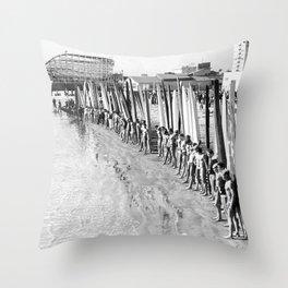 Long Beach Surf Contest 1930s Throw Pillow