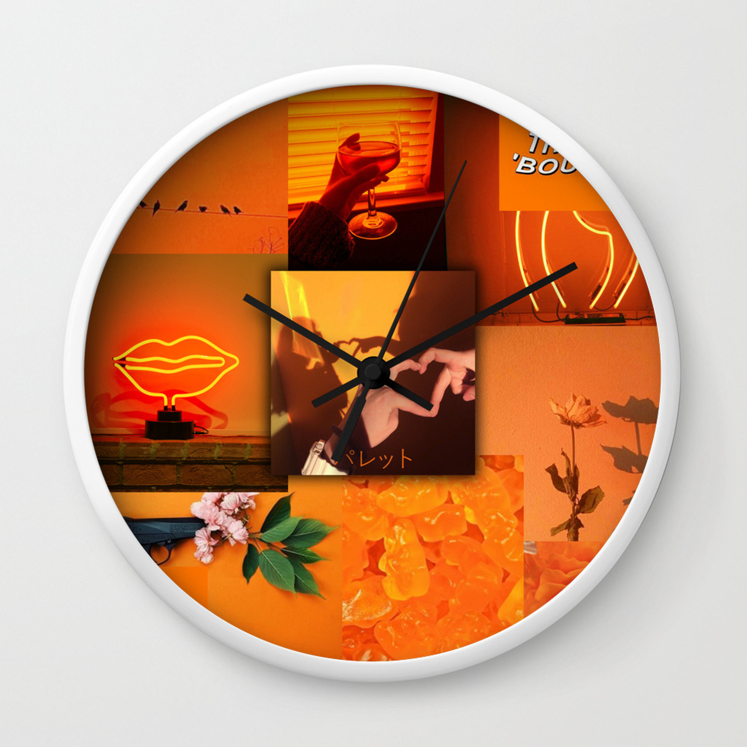 Orange Love Aesthetic Collage Wall Clock By Ethannguyen2020 Society6