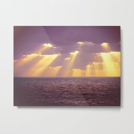 Golden Ray Over Sea Metal Print