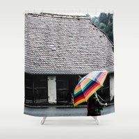 umbrella Shower Curtains featuring umbrella by Deviens
