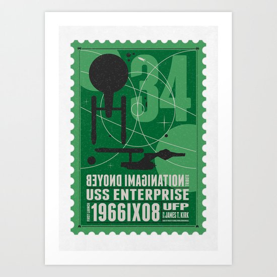 Beyond imagination: USS Enterprise postage stamp  Art Print