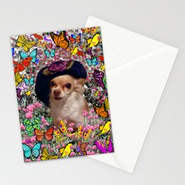 Chi Chi in Yellow, Orange, Red Rainbow Butterflies, Chihuahua Puppy Dog Stationery Cards