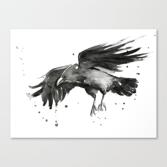 Raven Watercolor Bird Painting Black Animals Canvas Print