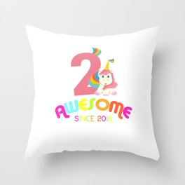 Awesome Since 2016 Unicorn 2nd Birthday Anniversaries Throw Pillow
