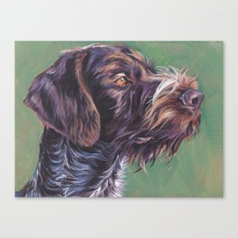 German Wirehaired Pointer dog art portrait from an original painting by L.A.Shepard Canvas Print