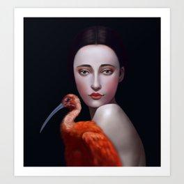 Miss Orange Stork Art Print