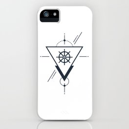 Creative Illustration In Geometric Style. Wheel, Ocean, Ship, Adventure, Nautical iPhone Case