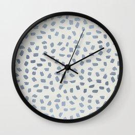 Simply Ink Splotch Indigo Blue on Lunar Gray Wall Clock