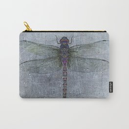 Dragonfly on blue stone and metal background Carry-All Pouch